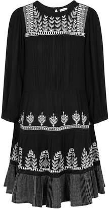 Velvet by Graham & Spencer Arabella Black Embroidered Gauze Mini Dress
