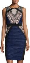 Jax Sleeveless Lace-Panel Sheath Dress, Navy/Black