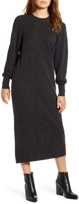 Lucky Brand Pointelle Yoke Long Sleeve Cotton Midi Sweater Dress