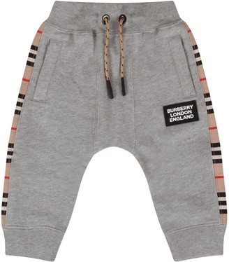 Burberry Grey Sweatpant For Babykids With Stripes