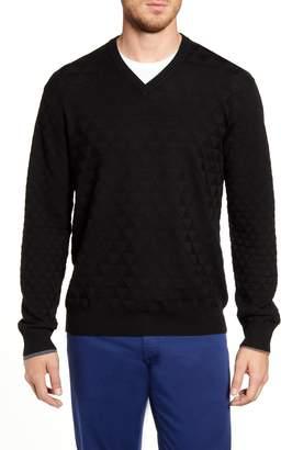 Robert Graham Randie Regular Fit Jacquard V-Neck Sweater