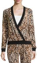 Cosabella Sapna Long-Sleeve Crossover Pajama Top, Brown Print