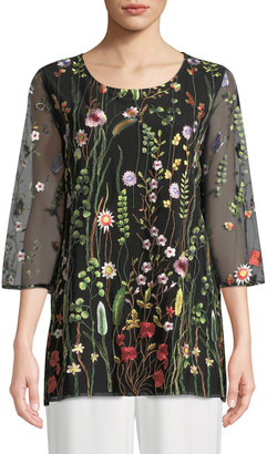 Caroline Rose Garden Walk Embroidered Layered Tunic