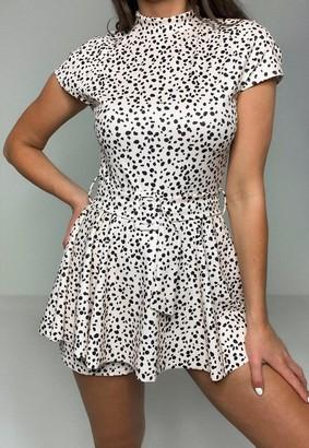 Missguided Ivory Dalmatian Print Skort Belted Romper