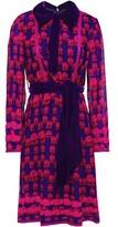 Anna Sui Velvet-trimmed Floral-print Silk-chiffon Shirt Dress