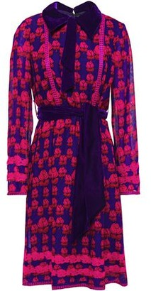 Anna Sui Velvet-trimmed Floral-print Silk-chiffon Shirt Dress
