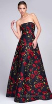 Mac Duggal Strapless Floral Fit and Flare Evening Gown