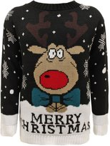 Envy Boutique New Kids Merry Christmas Xmas Knitted Reindeer Sweater Snow Flakes Rudolf Jumper