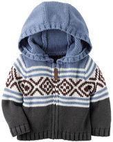 Carter's Hooded Zip-Front Fair Isle Cardigan
