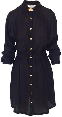 Linen Blend Shirt-Dress With Elastic Waistband - Black