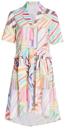 Rosie Assoulin Gathered Printed High-Low Shirtdress