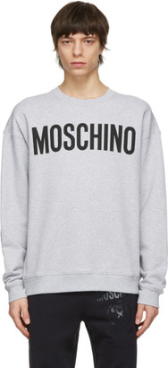 Moschino Grey Cotton Logo Sweatshirt