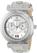 Versace Women's VA9020013 Vanity Chrono Round Stainless Steel Crocodile Design Band Chronograph Watch