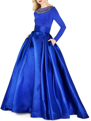 Mac Duggal Embellished High-Neck Long-Sleeve Satin Skirt Ball Gown