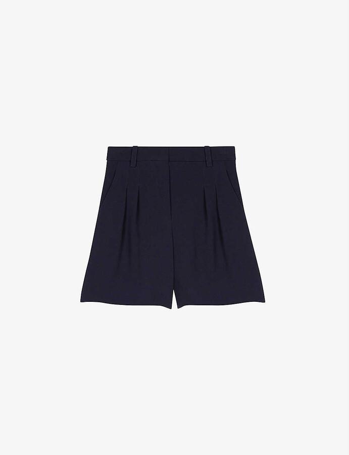 Maje Pleated satin-backed crepe shorts