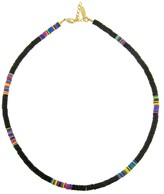 Allthemust Small Black Heishi Bead Necklace - Yellow Gold