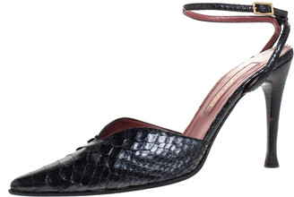 Sergio Rossi Black Python Leather Pointed Toe Ankle Strap Sandals Size 38.5