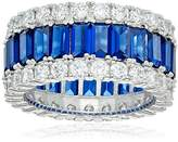 Crislu Platinum Plated Sterling Silver Cubic Zirconia Sumptuous Sapphire Ring