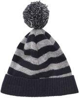 Caramel Baby And Child Striped Wool & Alpaca Blend Hat W/Pompom