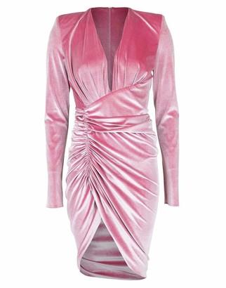 Alexandre Vauthier Long Sleeve V-Neck Velvet Dress
