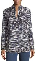 Tory Burch Long-Sleeve Space-Dye Tunic with Embroidered Trim