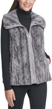 Calvin Klein Marled Faux-Fur Braid Sweater Vest
