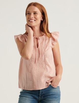 Lucky Brand Sandra Flutter Sleeve Top