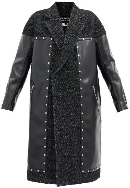 Junya Watanabe Studded Tweed And Faux-leather Coat - Black