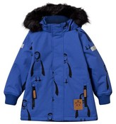 Mini Rodini Blue Penguin Print Hooded Coat