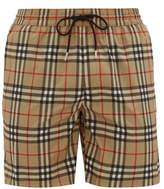 Burberry Vintage-check Printed Swim Shorts - Mens - Beige Multi