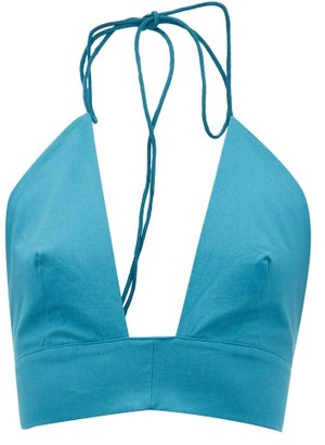 Kalita Plato Tie-neck Halterneck Cotton Top - Green