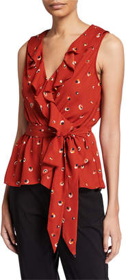 Max Studio Sleeveless Printed Ruffled Wrap Blouse