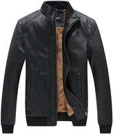 WenVen Men's Winter Fashion Faux Leather Jackets(, L)
