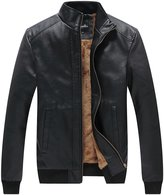 WenVen Men's Winter Fashion Faux Leather Jackets(, XL)