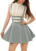 Allegra K Women Elastic Waist Cut Out A Line Suspender Skirt XS Grey