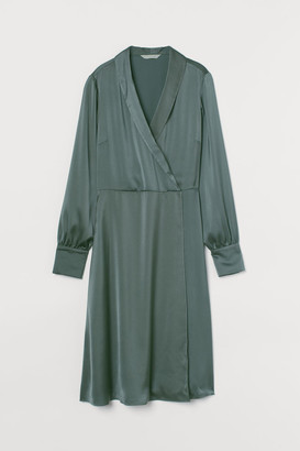 H&M Shawl-collar Wrap Dress - Green