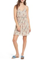 Lush Women's Floral Print Ruffle Back Blouson Dress