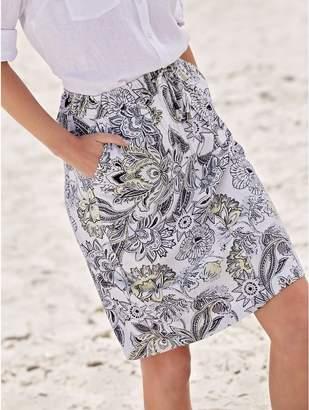 M&Co Petite oriental floral print linen skirt