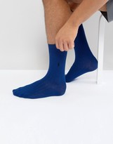 Polo Ralph Lauren Ribbed Socks Egyptian Cotton In Bright Navy