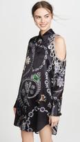 Area Jewelry Print Crystal Cutout Shirtdress
