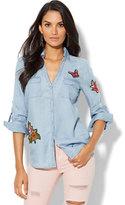New York & Co. Soho Soft Shirt - Patchwork Ultra-Soft Chambray - Medium Blue Wash