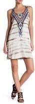 Hale Bob Scoop Neck Embellished Print Tank Dress