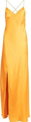 Mason by Michelle Mason Silk Front-Slit Maxi Gown