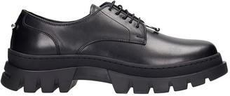 Neil Barrett Pierced Punk Lace Up Shoes In Black Leather