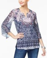 JM Collection Petite Printed Split-Neck Tunic, Created for Macy's