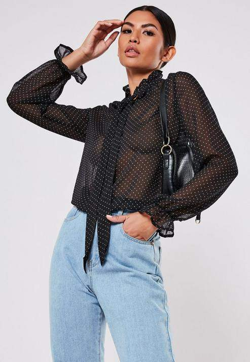 Missguided Black Polka Dot Pussy Bow Blouse