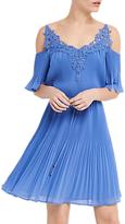 Oasis Cold Shoulder Pleat Dress, Light Blue