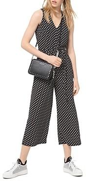MICHAEL Michael Kors Belted Dot Print Crepe Jumpsuit