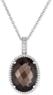 Macy's Smoky Quartz (15 ct. t.w.) and White Topaz (3/8 ct. t.w.) Large Oval Pendant Necklace in Sterling Silver