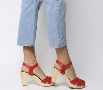 Swedish Hasbeens Suzanne Hi Peep Toe Sandals Red